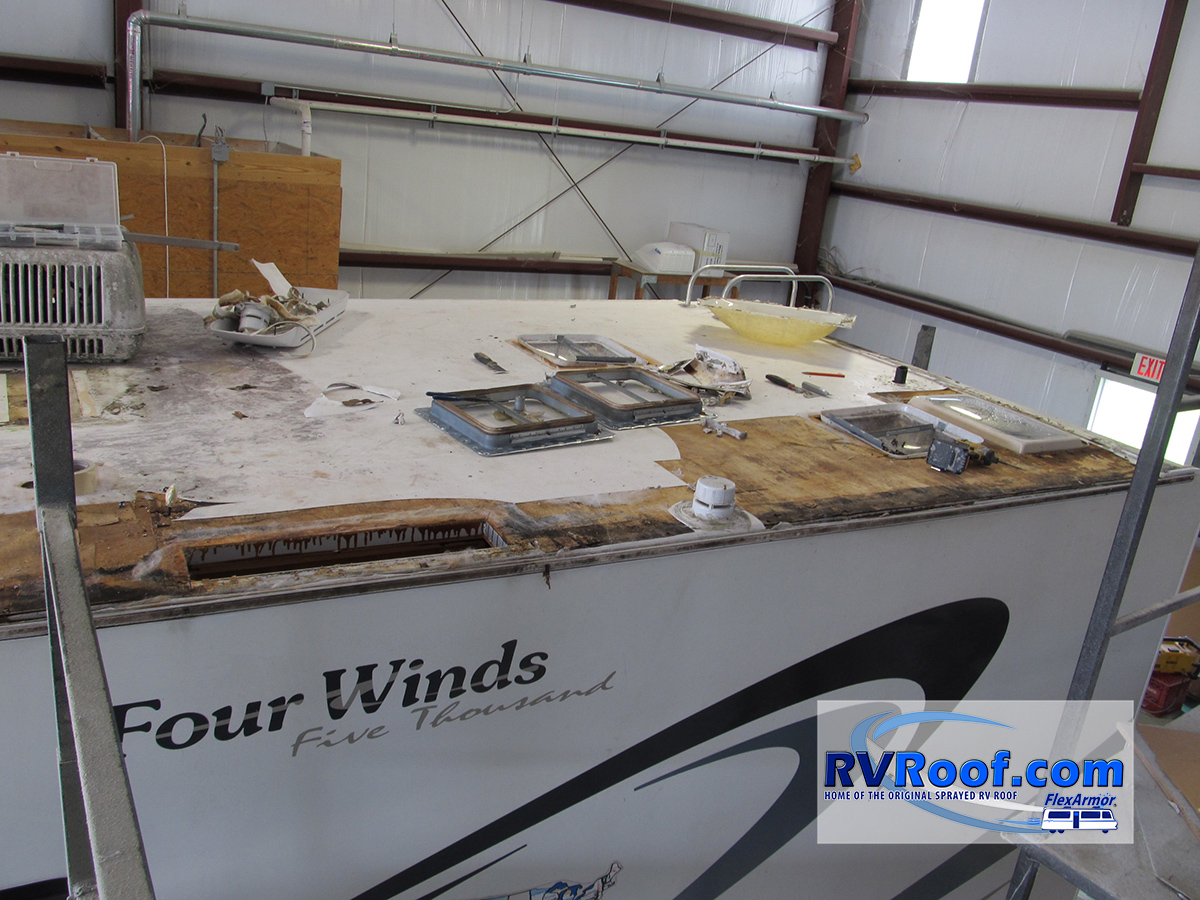 Class-c-with-water-damage-needing-wood-before-Flexarmor-roof-is-applied